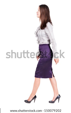 walking business woman. back view. going young girl in  suit. Rear view people collection.  back side view of person.  Isolated over white background. - stock photo