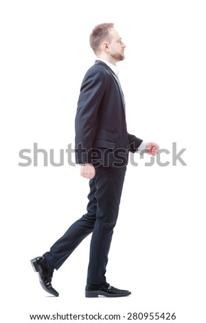 Walking businessman. Full length of walking young man in formalwear isolated on white. - stock photo