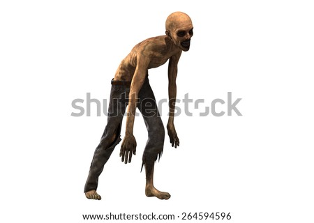 Walking dead - zombie separated on white background - stock photo