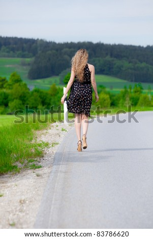 Walking down the street - stock photo