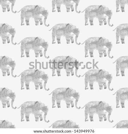 Walking elephants seamless watercolor illustration - stock photo