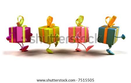 Walking gifts - stock photo