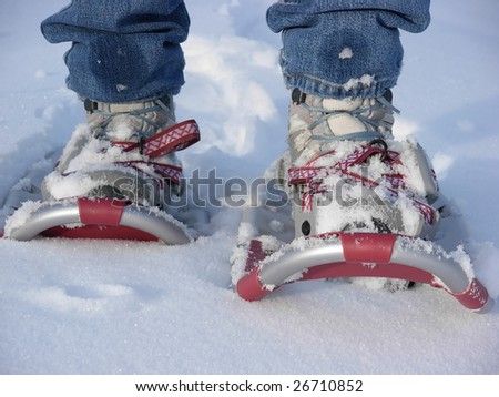 Walking in snowshoes #2 - stock photo