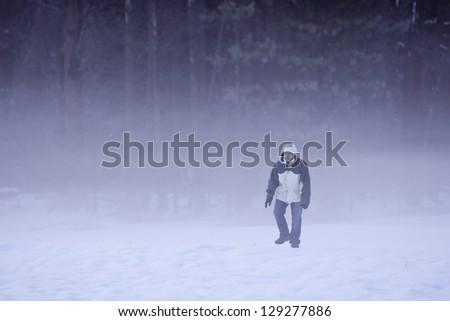 walking in the fog - stock photo