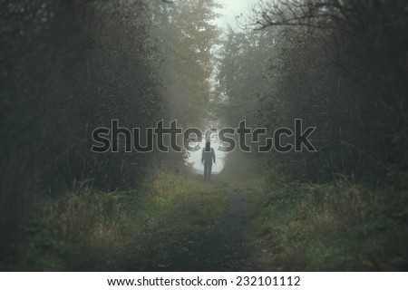 Walking lonely person on a forrest path in a dark and cold foggy day - stock photo
