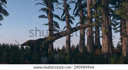 walking mamenchisaurus in tempskya grove - stock photo