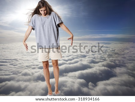 Walking on clouds. - stock photo