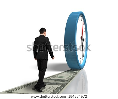 Walking on money way following rolling clock in white background - stock photo