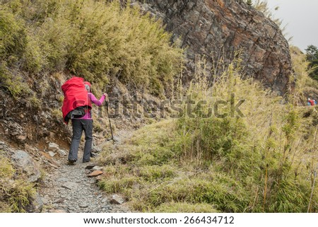 walking on the path in the mountain