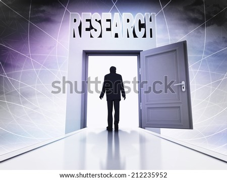 walking person to do research through magic doorway background illustration - stock photo