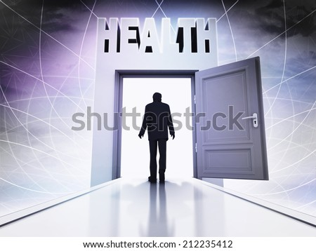 walking person to get health behind magic doorway background illustration