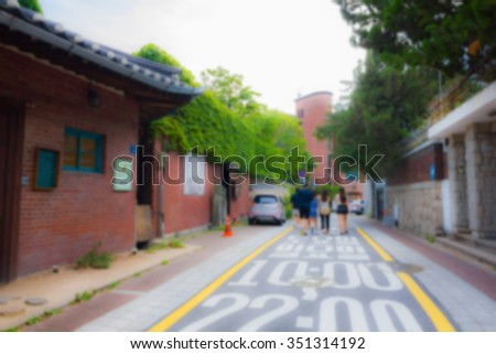 Walking streets in Seoul city, South Korea ,on blur - stock photo