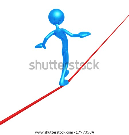 Walking Tight Rope - stock photo