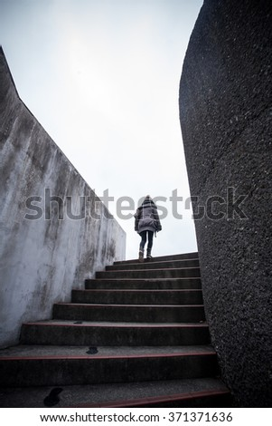 walking to the top - stock photo