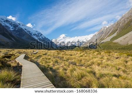 Walking track, Mount Cook, New Zealand - stock photo