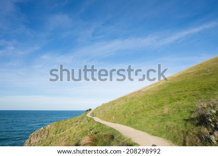 Walking Track on Hill near the sea, Tayor Mistake, Christchurch, New Zealand. - stock photo
