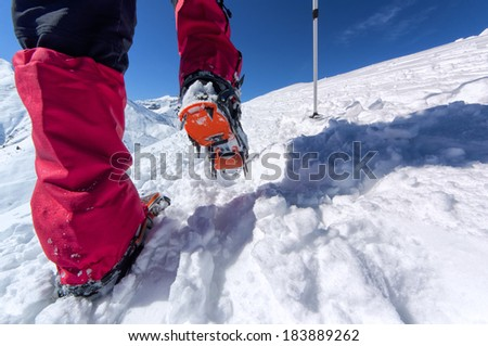 Walking with crampons