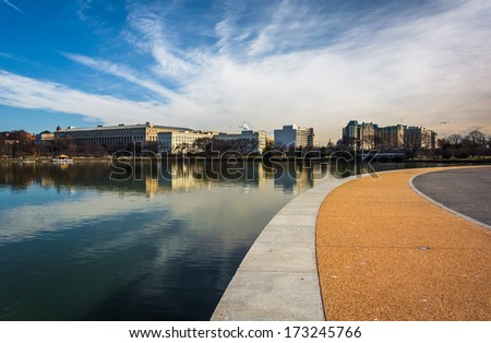 Walkway along the Tidal Basin, in East Potomac Park, Washington, DC. - stock photo