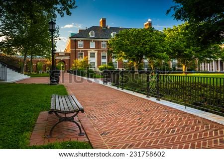 Walkway and buildings at John Hopkins University in Baltimore, Maryland. - stock photo