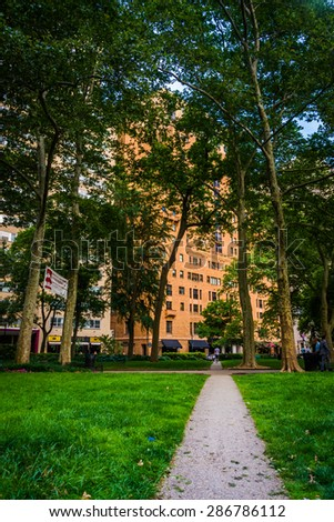 Walkway and buildings at Rittenhouse Square in Philadelphia, Pennsylvania. - stock photo