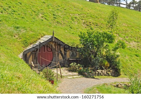 Walkway at hobbiton vilage, Shire, New Zealand - stock photo