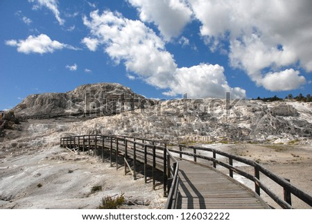 Walkway at Mammoth Hot Springs Yellowstone National Park - stock photo