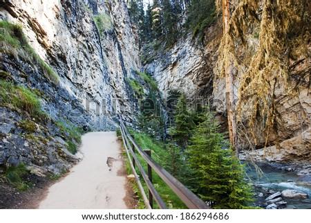 Walkway at the Falls in Johnston Canyon Banff National Park Alberta Canada - stock photo