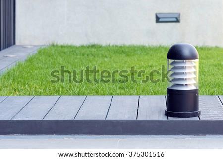 Walkway garden ground lamp ,outdoor modern lighting item technology - stock photo