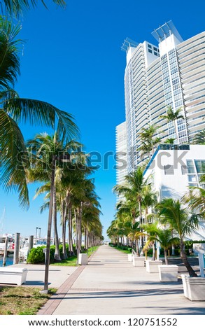 Walkway in Miami Beach, Florida - stock photo