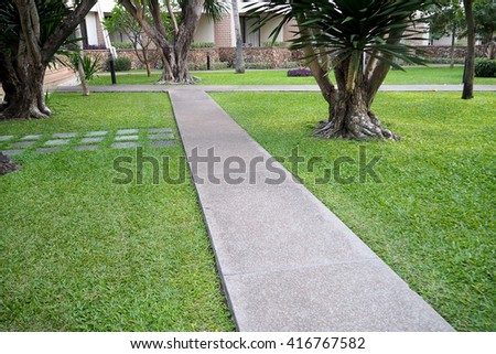 Walkway in park. - stock photo