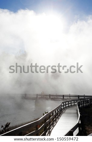Walkway into the mist. Yellowstone National Park - stock photo