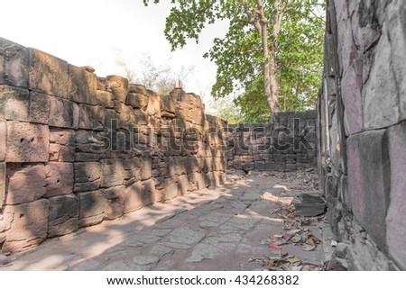 walkway of Stone ancient castle - stock photo