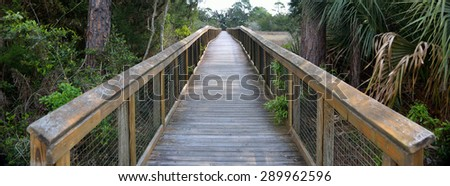 Walkway on the marsh land of Florida, USA. - stock photo