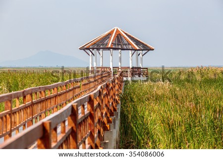 Walkway or walkpath with old pavilion in lake of thailand. - stock photo