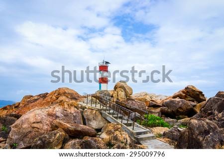 Walkway to lighthouse  - stock photo