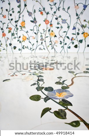 Wall and floor decoration in Sheikh Zayed Mosque, Abu Dhabi, United Arab Emirates - stock photo