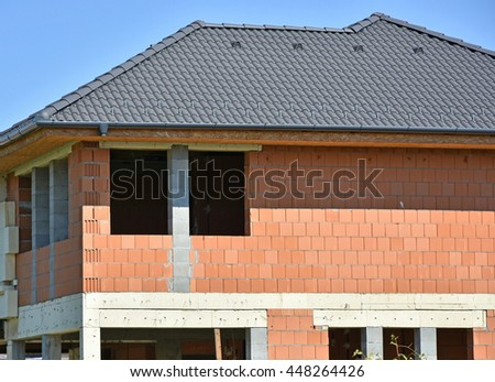 Wall and roof of a new house under construction