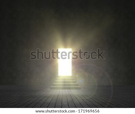 wall and walkway with stairs, passage of light shine - stock photo