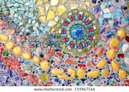 Wall background of colorful glass mosaic art. - stock photo