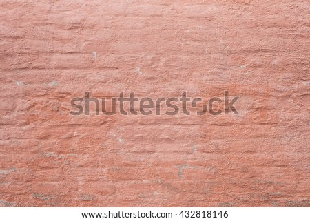 Wall background with empty space. Old and rough red brick backdrop with copyspace.