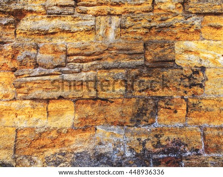 Wall built of natural stone. Can be used as background. Great background or texture. - stock photo