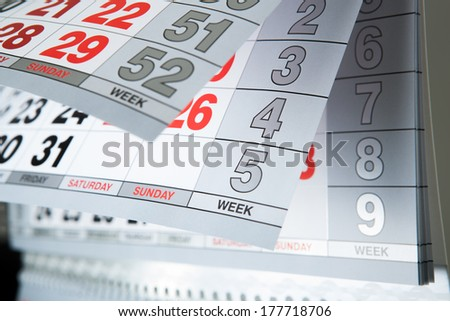 wall calendar calendar with the number of days close-up