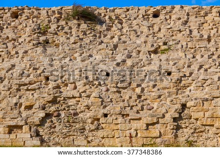 Wall Castle in izborsk town - stock photo