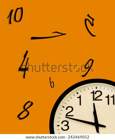 Wall clock disorder, inverted numbers and random numbers - stock photo
