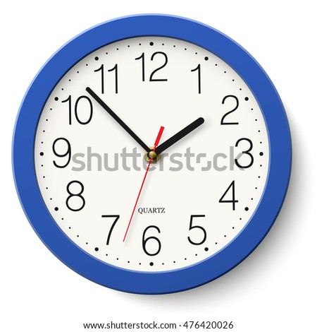Wall clock in classic round blue body placed on white background