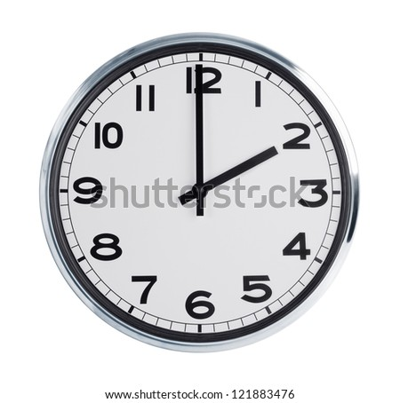 Wall clock is exactly two hours of the day - stock photo