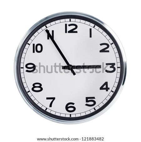 Wall clock is five minutes to three - stock photo