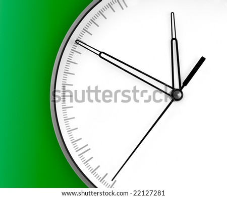 Wall Clock, isolated on green background - stock photo