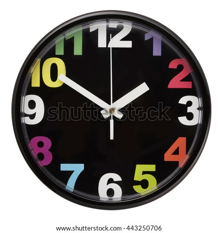 Wall clock isolated on white background. Include clipping path. - stock photo