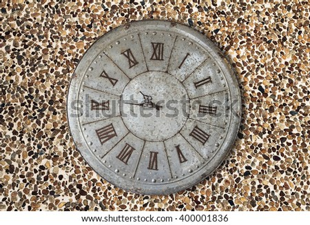 Wall clock old rusty grunge on stone wall background, (with clipping path) - stock photo